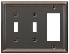 AmerTac 149TTRDB Chelsea Steel Double Toggle/Single Rocker-GFCI Wallplate, Aged Bronze