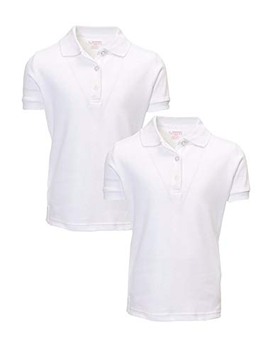 French Toast Girl's 2 Pack Uniform Short Sleeve Polo Shirts, White, X-Small 4/5