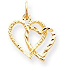 ICE CARATS 10k Yellow Gold Heart Pendant Charm Necklace Love Fine Jewelry Gift Set For Women Heart