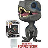 Funko Pop! Movies: Jurassic World Fallen Kingdom - Blue Velociraptor Vinyl Figure (Bundled with Pop Box Protector Case)