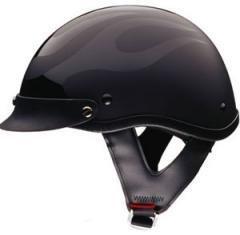 DOT Flat Black Motorcycle Half Helmet with Black Flames (Size M, MD, Medium)