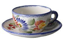 Quimper Fleuri Royal Tea Cup & Saucer by HB Henriot Quimper ()