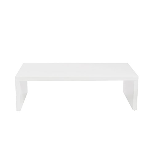 Eurø Style Abby Lightweight High-gloss Lacquer Coffee Table, White