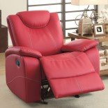 Homelegance Glider Reclining Chair Faux Leather, Red