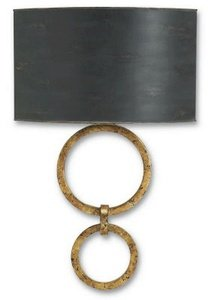 Currey Company 5910 Sconce with Black Shades, Gold Leaf and French Black Finished
