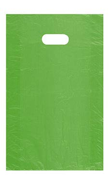 SSWBasics Medium High Density Lime Green Plastic Merchandise Bags - 12''W x 3''D x 18''H - Case of 1000