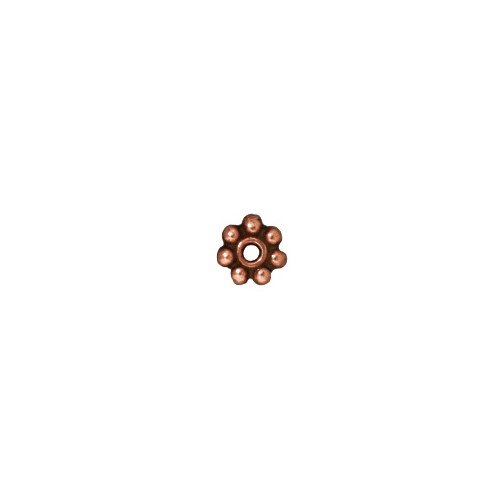 (TierraCast Daisy Heishi, 4mm, Antiqued Copper Plated Pewter, 25-Pack)