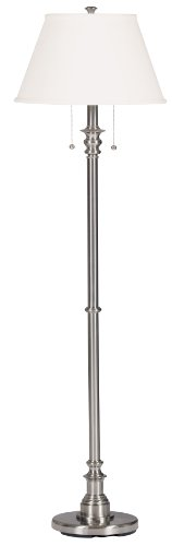 Kenroy Home 30438BS Spyglass Floor Lamp, Brushed Steel (Tiffany Shade Neutral)