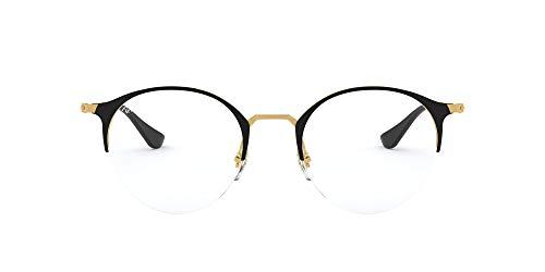 Ray-Ban RX3578V Round Metal Eyeglass Frames Non Polarized Prescription Eyewear, Gold Top Shiny Black/Demo Lens, 50 mm