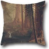 Pillow Covers Of Oil Painting Albert Bierstadt - Giant Redwood Trees Of California,for Drawing Room,living Room,pub,bar,son,festival 20 X 20 Inch / 50 By 50 Cm(each (Texas Olive Tree)