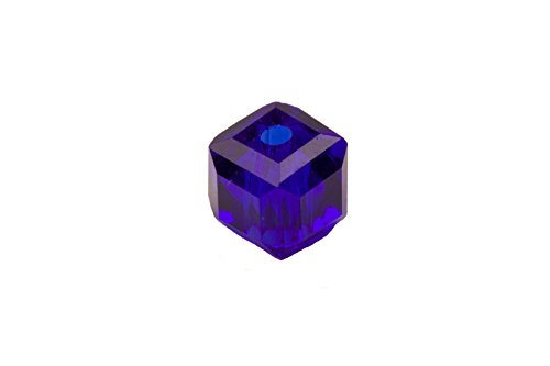 Crystal Bead, Faceted Cube, Sapphire Blue,4X4mm sold per