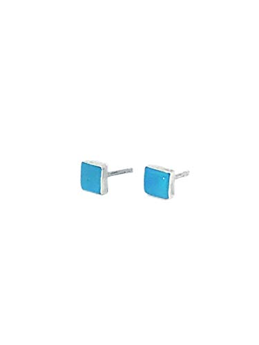 (5mm Genuine Sleeping Beauty Turquoise Square Stud Earrings in 925 Sterling Silver, Authentic Navajo Native American, Handmade in the USA, Nickle Free)