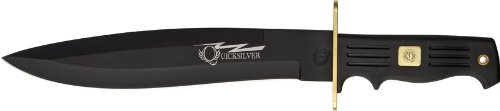Frost Cutlery & Knives QS522RUBB Quicksilver Bowie Fixed Blade Knife with Fingergrooved Black Rubber Handles