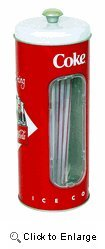 (Coca-Cola Collectible Tin Straw Holder with 50 Straws)