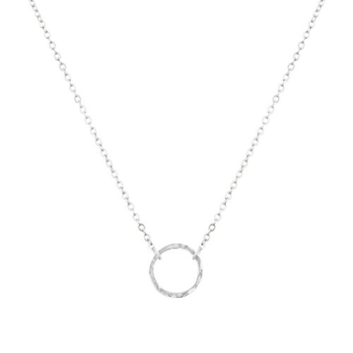 - LOYATA Karma Open Circle Pendant Necklace, Silver Plated Chain Necklace Simple Minimalist Small Dainty Delicate Karma Necklace for Girls Women (Circle Silver)