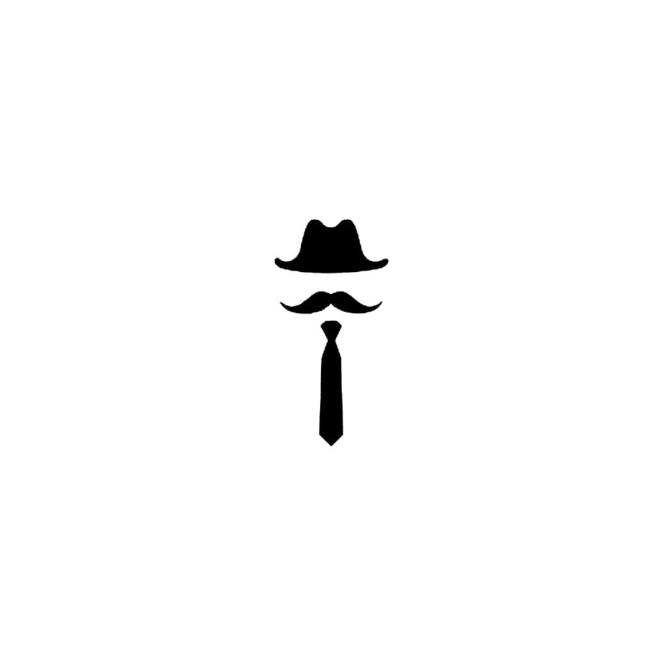 5 inches black silhouette of cowboy hat long thick mustache long tie design vinyl decal sticker twin pack 2 in 1