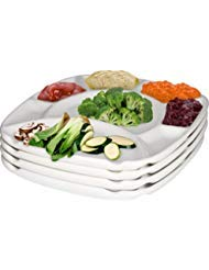 MyCuisina White Stoneware Set of 4 Divided Fondue plates, 8 Sections – Gift Boxed