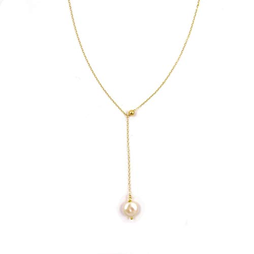 (Y Lariat Drop Necklace with White Coin Freshwater Pearl/Sterling Silver or (Rose) Gold Filled)