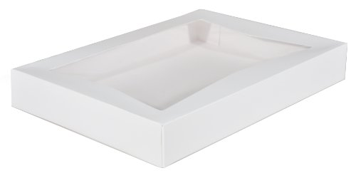 "Southern Champion Tray 24543 Paperboard White Window Bakery Box, 16"" Length x 12"" Width x 2-1/4"" Height (Case of 100)"