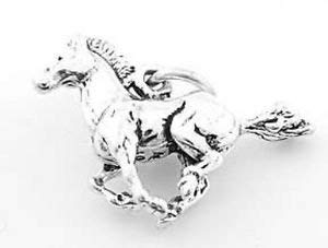 Mustang Horse Charm - Sterling Silver Running Horse Stalling Mustang Charm (3D Charm) Jewerly Making Supply Bracelet DIY Crafting by Easy to be happy!