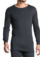 Mens Sockshop Heat Holder Long Sleeve Thermal Vest XXL Charcoal