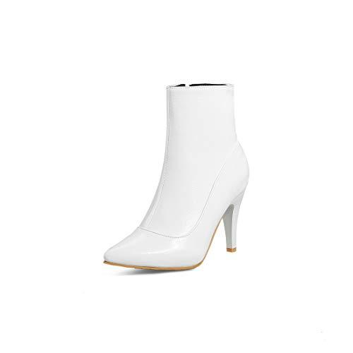 Sandalette-DEDE Moda Botas de Tacon Alto de Las Mujeres señalaron la Boda bajo Llave, Botas, Botas de Mujer. white