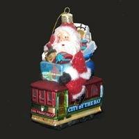 (Kurt Adler Santa Sitting on San Francisco Trolley Glass Ornament, 5-Inch)