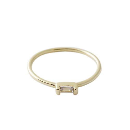 HONEYCAT Tiny Baguette Crystal Ring in 24k Gold Plate | Minimalist, Delicate Jewelry (Smooth/G/5) ()
