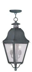 Livex Lighting 2546-61 Amwell - Two Light Outdoor Hanging Lantern, Charcoal Finish with Seeded Glass
