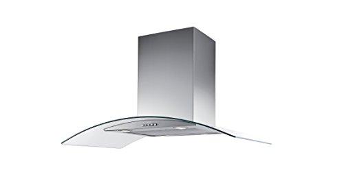 Campana de Cocina IHD Isola Milan de 90 cms en Acero Inoxidable con Cristal Curvo y Ducto Extraible; de Diseño Innovador y...