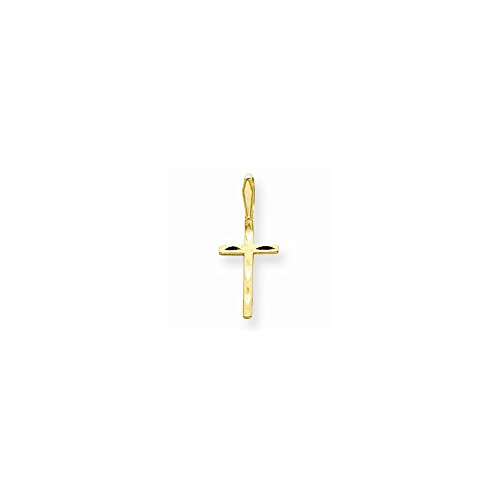 14k Satin & Dia-Cut Cross Pendant, Best Quality Free Gift Box