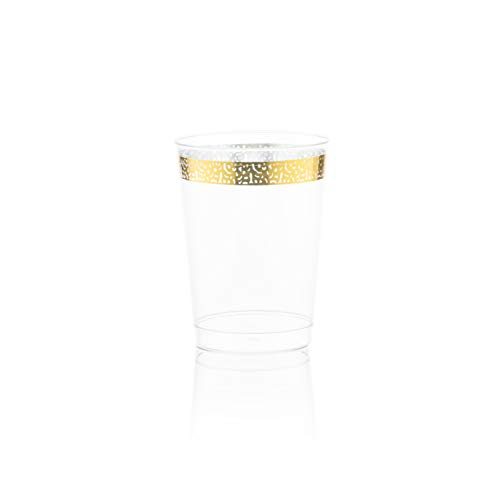 Posh Setting Gold Plastic Clear Cups, 10 oz. 40 Pack Gold Rimmed Plastic Cups with Gold Lace Trim Design Elegant Fancy Wedding Tumblers (Fancy Wedding Designs)