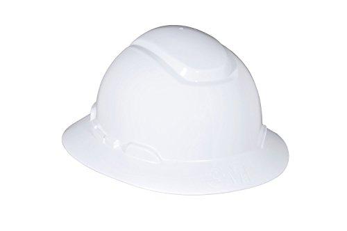 3M Full Brim Hard Hat H-801R, 4-Point Ratchet Suspension, White