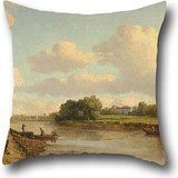 Pillow Cases Of Oil Painting William Marlow - View On The River Thames At Richmond,for Seat,bar,family,study Room,kids Room,car Seat 20 X 20 Inch / 50 By 50 Cm(twice Sides)]()