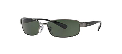 Ray-Ban RB3364 Rectangular Metal Sunglasses, Gunmetal/Polarized Green, 62 mm