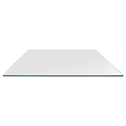 TroySys Rectangle Glass Table Top, 1/4 Inch Thick, Flat Polished Edge, Eased Corners, Tempered, 30