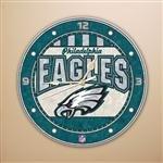 (Philadelphia Eagles 12 Inch Art Glass Clock )
