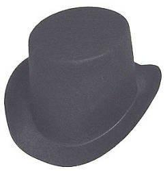 Black Flocked Felt Top Hats - Size: 4-7/8