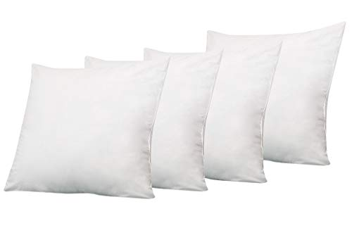 (Linen Street Hotel Quality Pillow Pack of 4 (22 x 22) Pillow Inserts for Decorative Bed Pillow, Shams Insert - Premium Plush Fiber Fill - Machine)