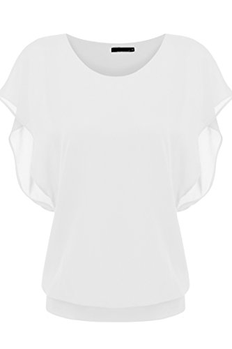 Zeagoo Womens Casual Loose Chiffon Blouses Scoop Neck Short Sleeve Tops - Top Opaque Lace