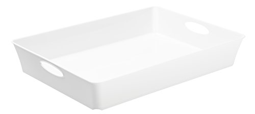 Rotho Living Box 1124100000, dimension approx 37.5 x 26.6 x 6 cm (lxwxh), format A4, capacity 4.5 L, design storage box flat made from polypropylene plastic, white opaque by Rotho