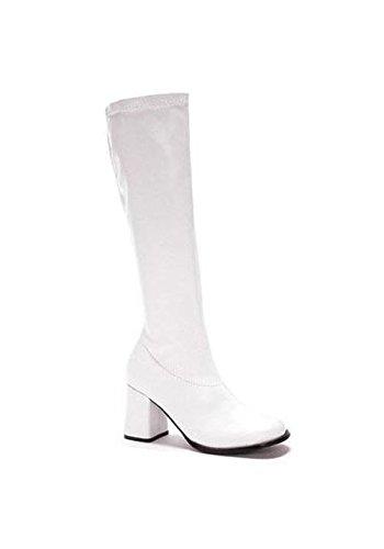"Ellie Shoes Women's GOGO 3"" Heel Zipper White Pu Boot 7 B US"