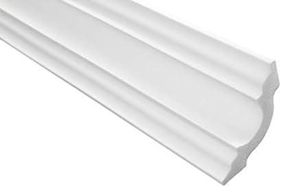 blanc 25 Faire 50 M/ètres Moulure en Stuc Professionnel Dur Blanc Lisse Marbet 50x50mm E-14
