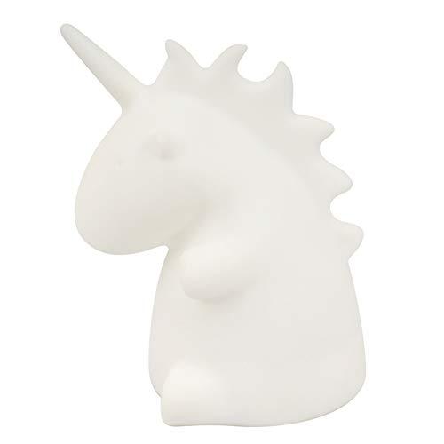 Lámpara de noche LED blanca de unicornio recargable con mando a distancia, varios colores, brillo ajustable, hora, regalos...
