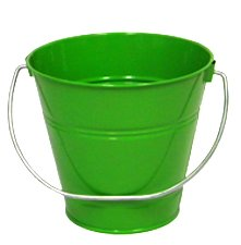 "6 pack Metal Bucket, Green Metal Bucket 5"" H x 6"" click and"