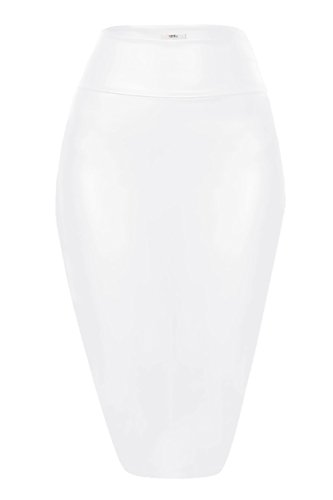 (Faux Leather Pencil Skirt Below Knee Length Skirt Midi Bodycon Skirt Womens, USA White Faux Leather XX-Large)