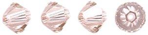 Swarovski Elements 5328 Xilion Bicone Diamond Beads, Transparent, Vintage Rose, 4-mm, 48/Pack ()