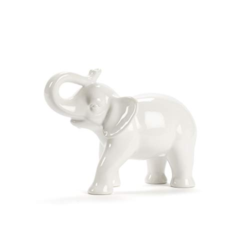 (Abbott Collection Ceramic Elephant Figurine, White (Medium))