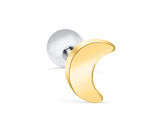 ONDAISY 14K Gold Plated Two Tone Half Crescent Sailor Luna Moon Ear Barbell Ball Stud Earring Piercing