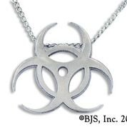 Biohazard Symbol Necklace White Bronze - Zombie Jewelry ZOMB-06 WhtBronz